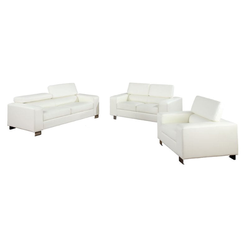 Furniture Of America Salter 3 Piece Bonded Leather Sofa