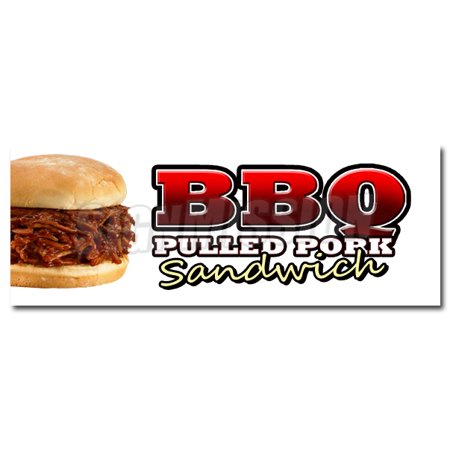 BBQ PULLED PORK SANDWICH DECAL sticker bar-b-que smoked slow cooked food