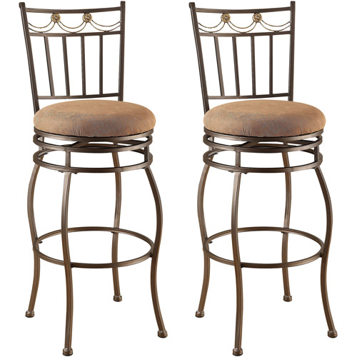 Acme Venezuela Swivel Bar Chair, Set of 2, Beige