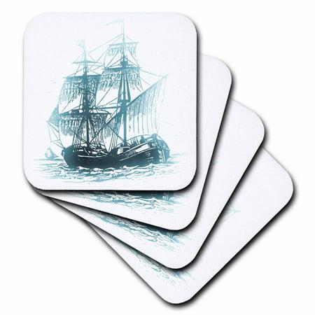 3dRose Pirate Ship On the Ocean - Halloween Art, Ceramic Tile Coasters, set of - Crochet Halloween Coasters