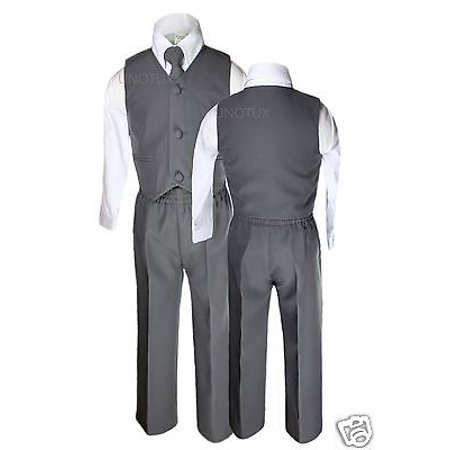 Baby Boys Toddler Wedding Formal Party Vest Set Dark  Gray Grey Suits S-14 (Boys Suits Grey)
