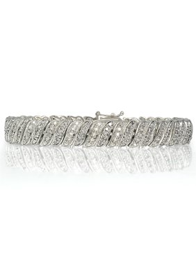 1 Carat Diamond Silver-Tone Wave Link Tennis Bracelet