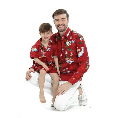 3ddc292d Hawaii Hangover - Matching Father Son Hawaiian Luau Outfit Christmas Men  Shirt Boy Shirt Only Red Santa Flamingo L-12 - Walmart.com