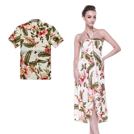 Couple Matching Hawaiian Luau Party Outfit Set Shirt Dress in Cream Rafelsia Men L Women S 1970's Womens Hawaiian Dress