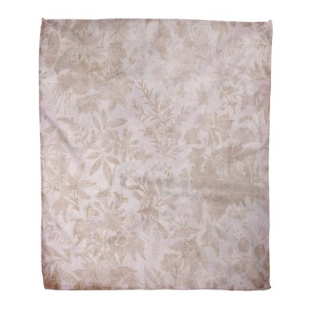 ASHLEIGH Throw Blanket Warm Cozy Print Flannel Pink Chic Shabby Vintage Brown Floral Faded Flower Pretty Album Classic Elegant Comfortable Soft for Bed Sofa and Couch 58x80 Inches