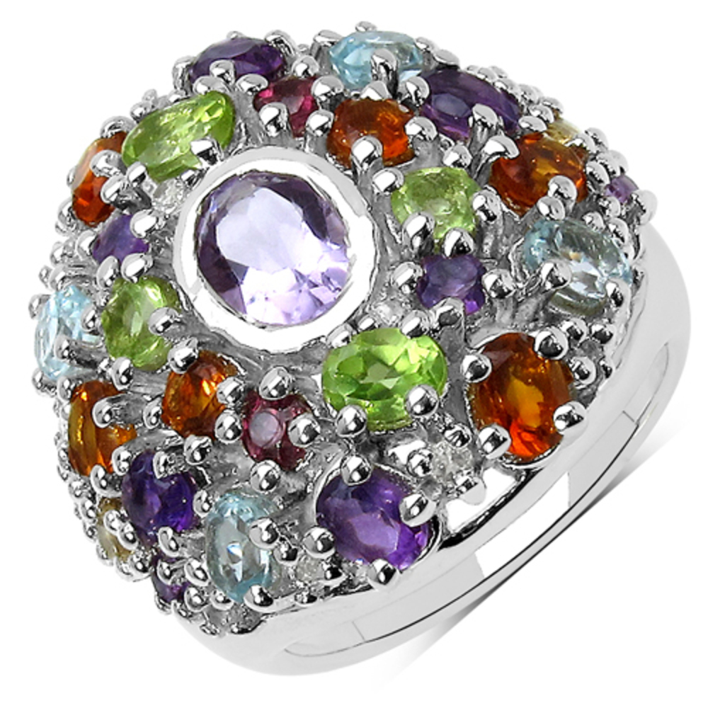 Genuine Oval Pink Amethyst, Amethyst and Peridot Ring in Sterling Silver Size 6.00 by