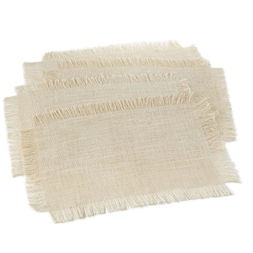 Fennco Styles Fringed Burlap Placemats, 4-piece, 7 Colors (Ivory) by Fennco Styles