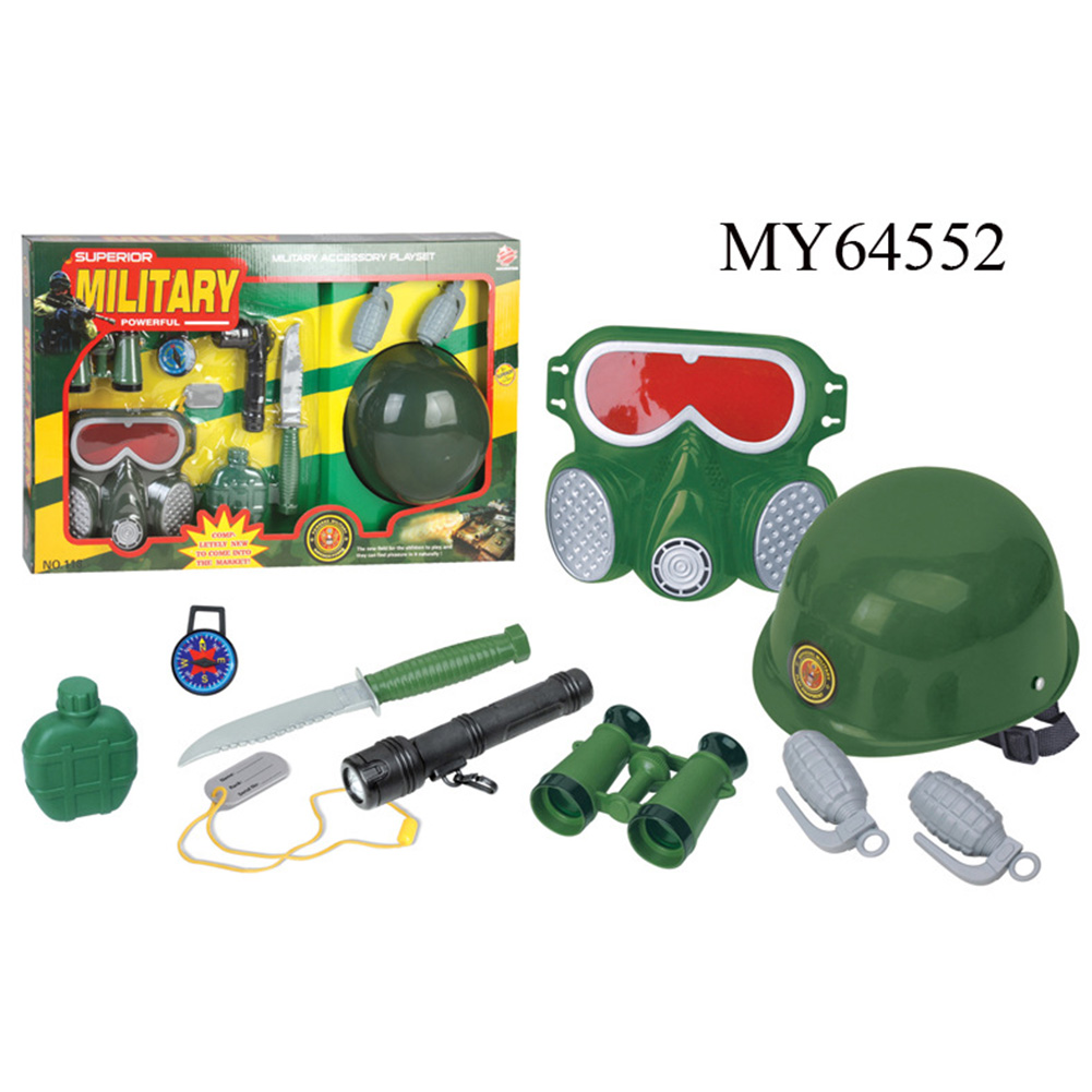 9 Pcs Firefighter Role-playing Toys Fire Extinguisher Gas Mask Firefighters Badge Set for Children Green by
