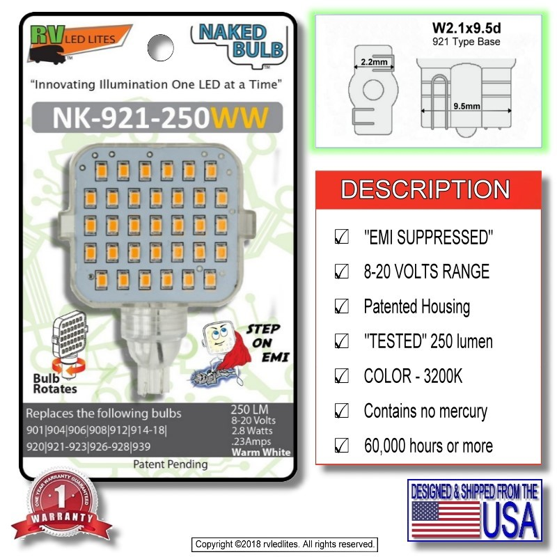 Naked Bulb Nk-921-350cw Led Replacement Emi Suppressed