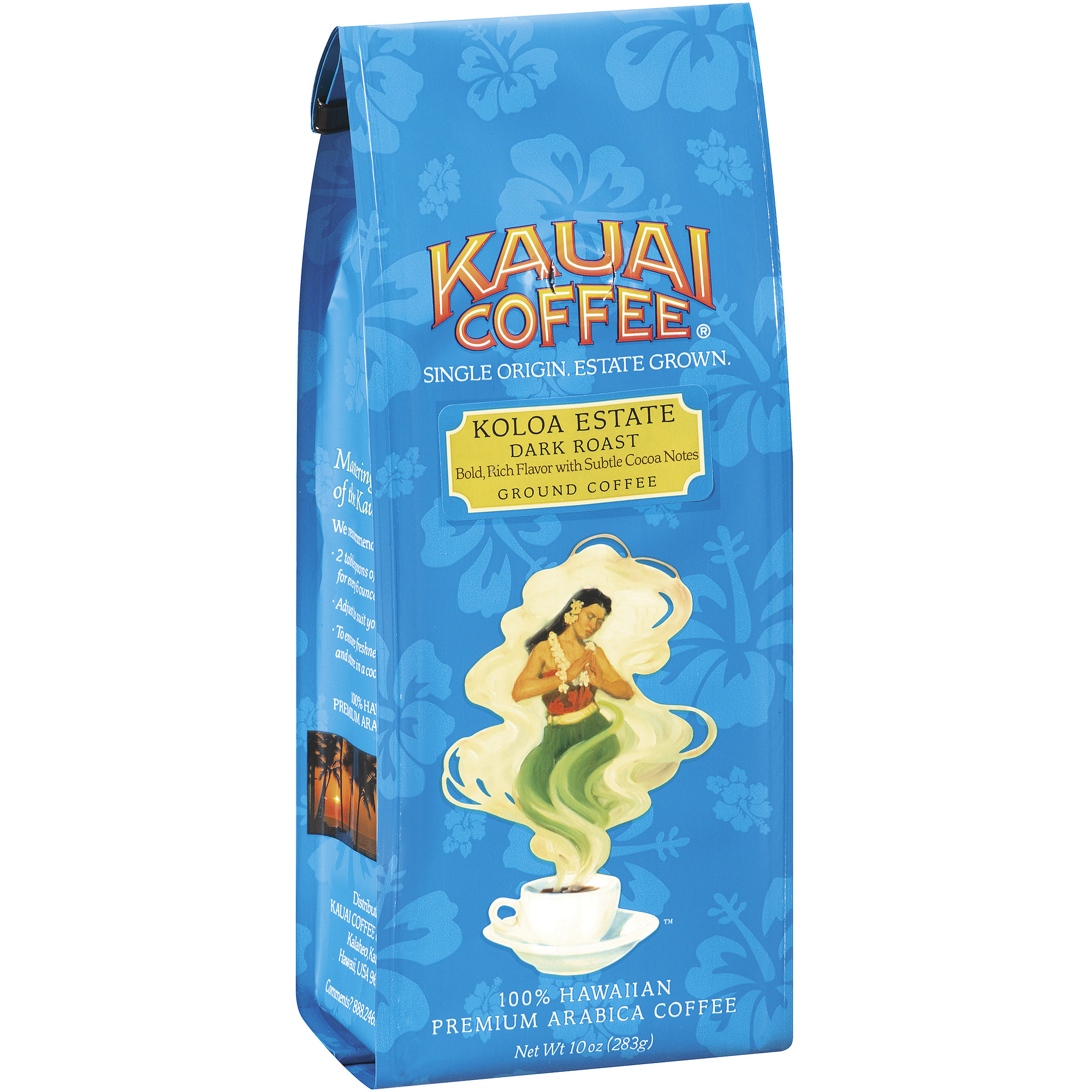 Kauai Coffee Koloa Estate Dark Roast Ground Coffee, 10 oz