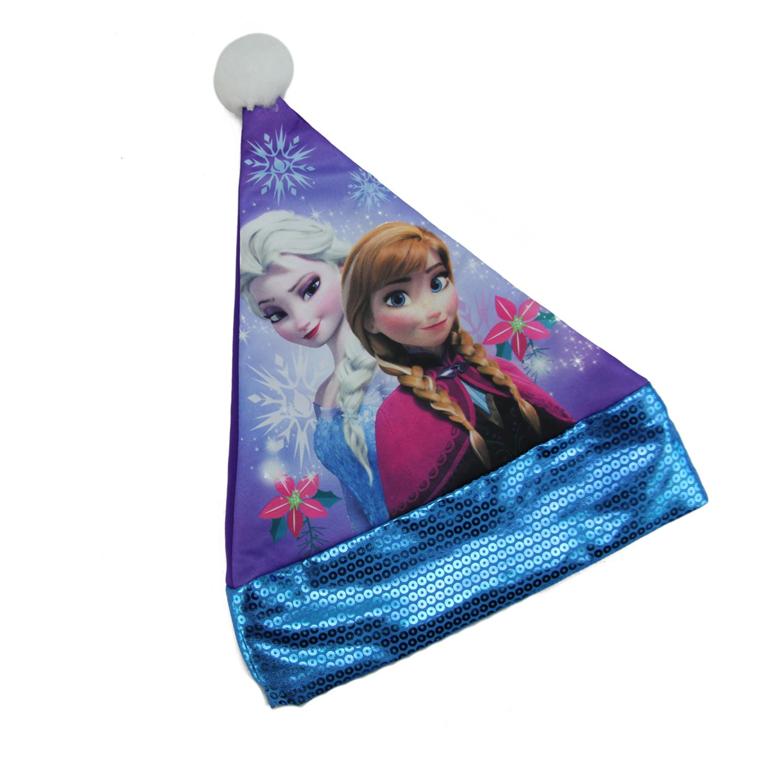 "15"" Disney Frozen Elsa and Anna Girl Children's Purple Santa Hat with Blue Sequin Trim"