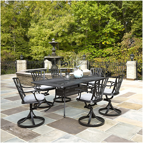 Home Styles Largo 7-Piece Dining Set with Cushions, Charcoal