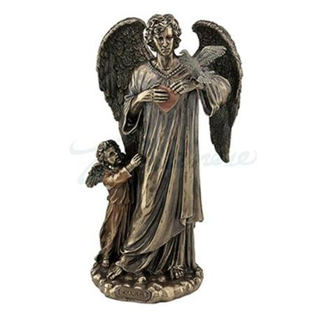 Child Sculpture - Unicorn Studios WU76962A4 Chamuel Archangel with Child & Bird Sculpture - Bronze
