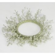"""Set of 3 Large Clear and White Beaded Branches Pillar Candle Ring 6"""""""