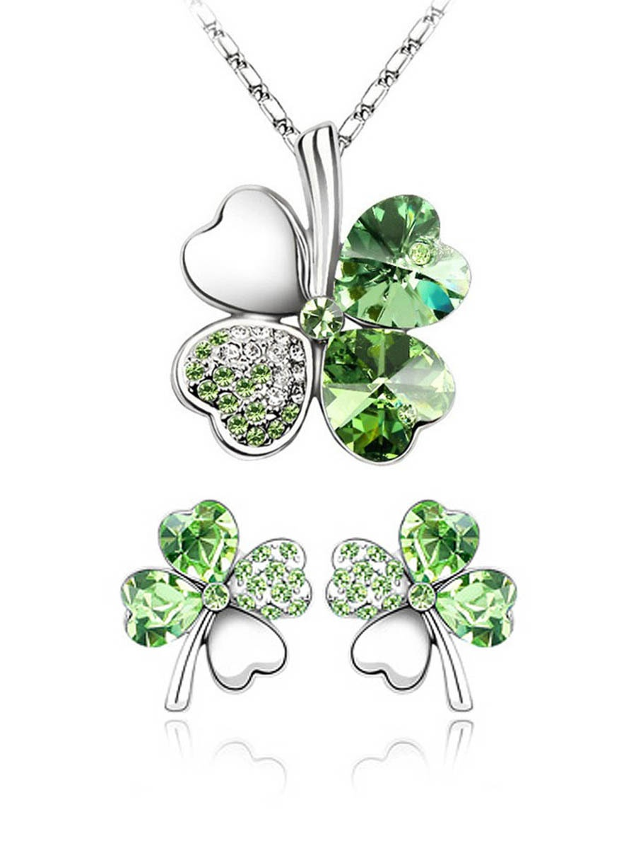 Wrapables® Gold Plated Swarovski Elements Crystal Four Leaf Clover Pendant Necklace and Earrings Jewelry Set, Green
