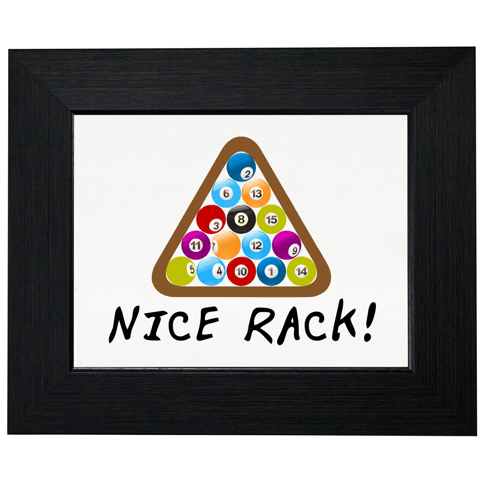 Nice Rack - Classic Pool / Billiards Colorful Graphic Framed Print Poster Wall or Desk Mount Options