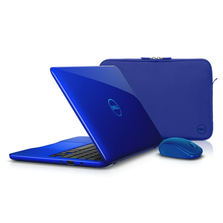 Dell Inspiron 11 3162 Series 11 6  Laptop Premium Bundle  Bali Blue Sleeve   Blue Wireless Mouse  Windows 10  Intel Celeron N3060 Dual Core  4Gb Ram  32Gb Emmc