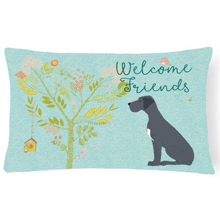 Carolines Treasures BB7587PW1216 Welcome Friends Black Great Dane Canvas Fabric Decorative Pillow, 12 x 16 in. - image 1 de 1