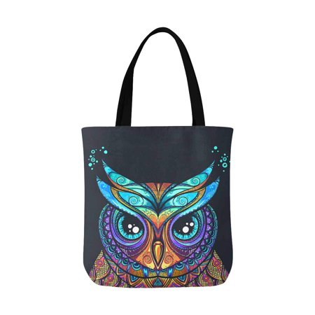 Canvas Tote Bags Crafts (ASHLEIGH Vintage Owl with Tribal Ornament Canvas Tote Bag Shopping Bag Washable Grocery Tote Bag, Craft Canvas Bag for Women Men Kids )