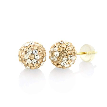 14k Yellow Gold Womens 8mm Peach White Flower Austrian Crystal Ball Studs Earrings