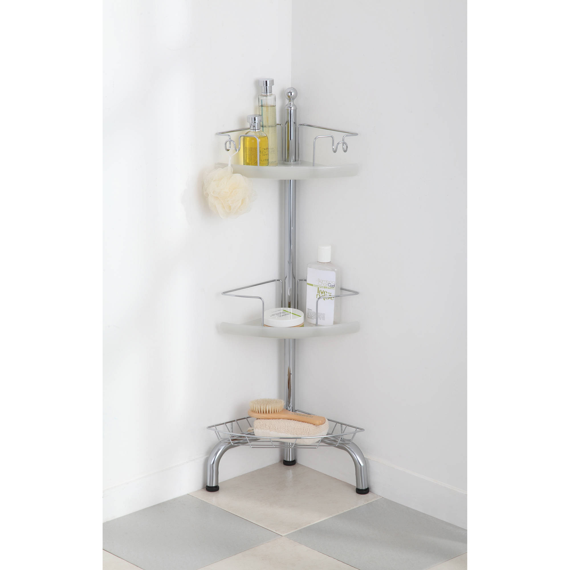 HomeZone 3-Tier Adjustable Corner Shower Caddy, Chrome - Walmart.com