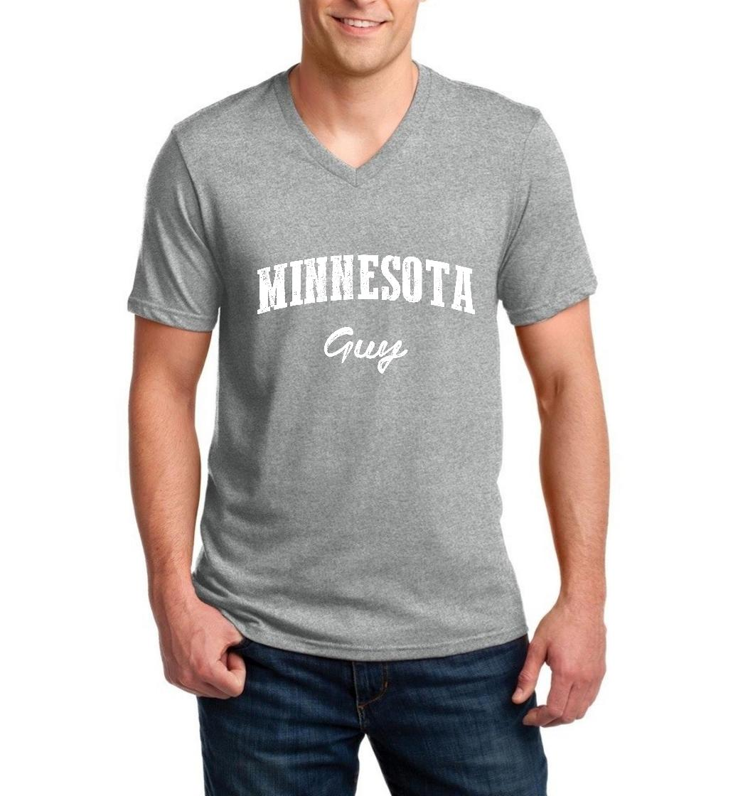 J_H_I MN Guy Map Minneapolis Flag Golden Gophers Home University of Minnesota Men V-Neck Shirts Ringspun