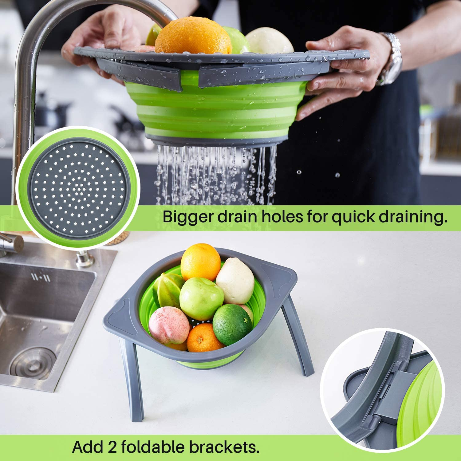 Multifunction Chopping Board with Colander,3 in 1 Multifunction Storage Basket BBQ Glotoch Collapsible Cutting Board with 2 Colander Picnic Chopping/&Slicing Board for Camping Kitchen