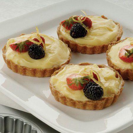 """Best Amco 4 Cup Fluted Mini Tartlet Pan Loose Removable Bottom, each 3.5"""" x .9"""" deal"""