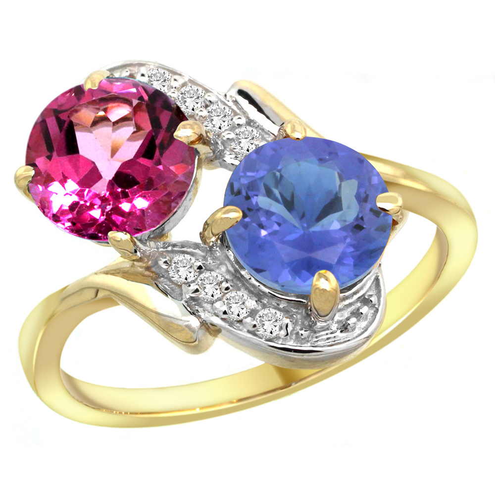 14k Yellow Gold Diamond Natural Pink Topaz & Tanzanite Mother's Ring Round 7mm, size 5 by Gabriella Gold