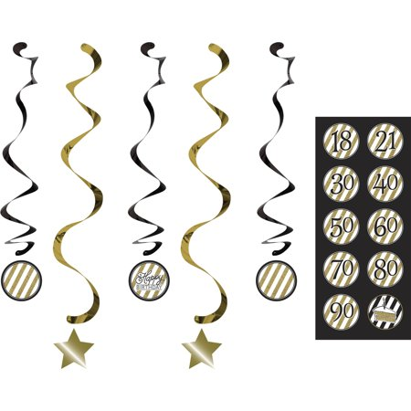 Black and Gold Dizzy Danglers, 5pk