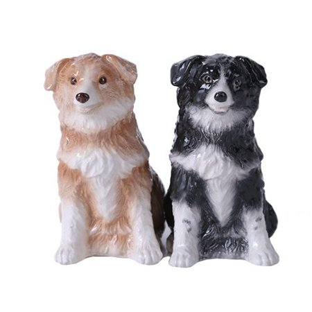 4.75 inches Border Collie Couple Magnetic Salt and Pepper Shaker Kitchen Set, Made of Cermaic By Pacific - Gorham Giftware