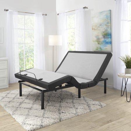 Nestl Bedding Metal Massage Adjustable Bed Frame, Split King, Black