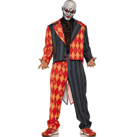 Thriller Mens Scary Orange Black Clown Jester Tuxedo Halloween Costume (Non Scary Halloween Games)