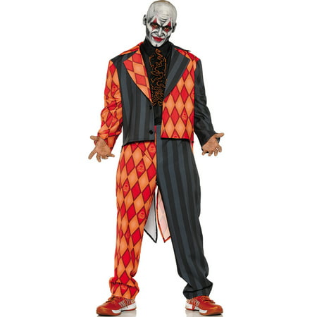 Thriller Mens Scary Orange Black Clown Jester Tuxedo Halloween Costume - Scary Female Characters For Halloween