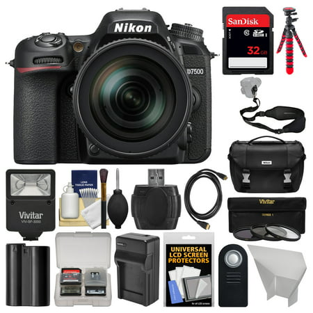 Nikon D7500 Wi-Fi 4K Digital SLR Camera with 18-300mm VR DX Lens, Case + 32GB Card + Flash + Battery + Charger + Tripod + Strap + 3 Filters Kit