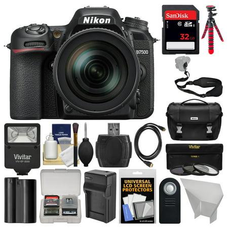 Nikon D7500 Wi-Fi 4K Digital SLR Camera with 18-300mm VR DX Lens, Case + 32GB Card + Flash + Battery + Charger + Tripod + Strap + 3 Filters Kit
