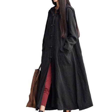 Women Plus Size Spring Autumn Cotton & Linen Long Sleeve Hooded Maxi Dress w/Pocket, - Hood Dress