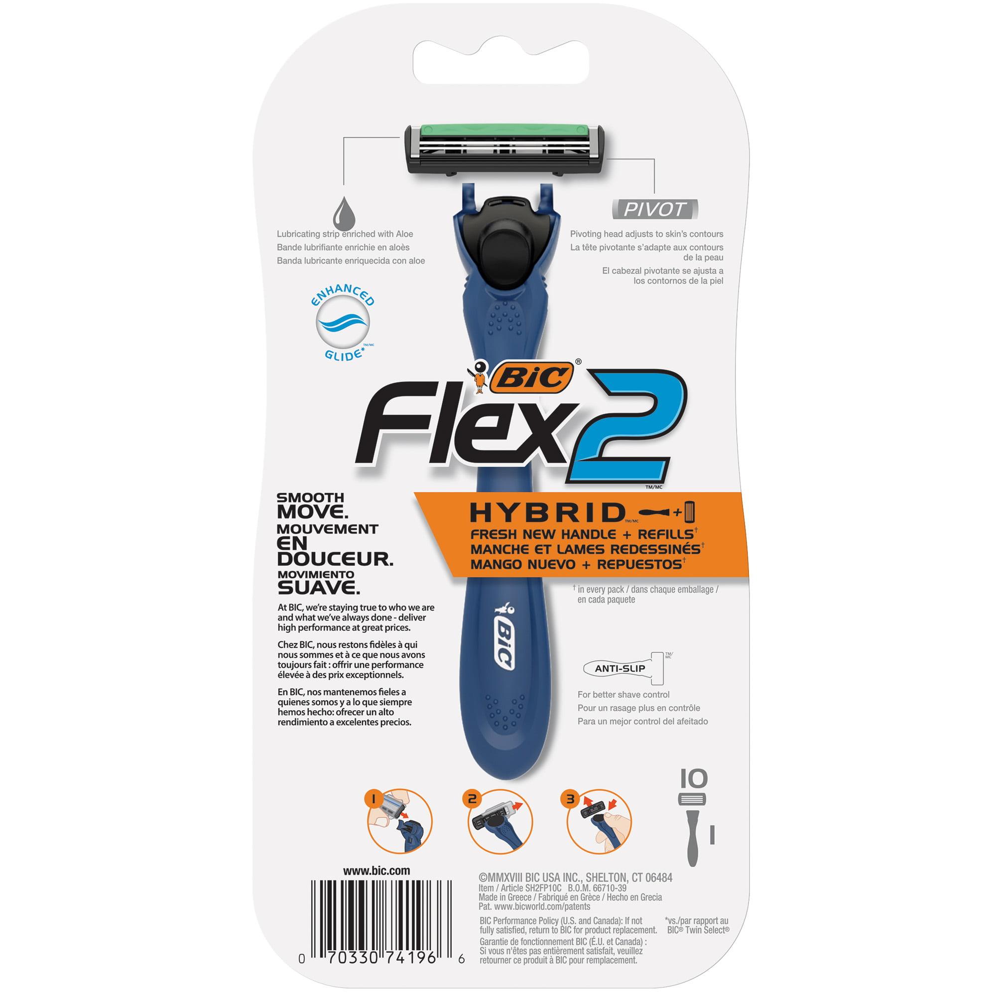 BIC Flex 2 Hybrid Men's Twin Blade Disposable Razor, 1 Handle 10 Cartridges