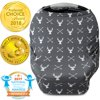 Kids N' Such Nursing Cover, Car Seat Canopy, Shopping Cart, High Chair and Carseat Covers for Boys and Girls - Best Stretchy Infinity Scarf and Shawl - Multi Use Breastfeeding Cover Up - Stag Deer