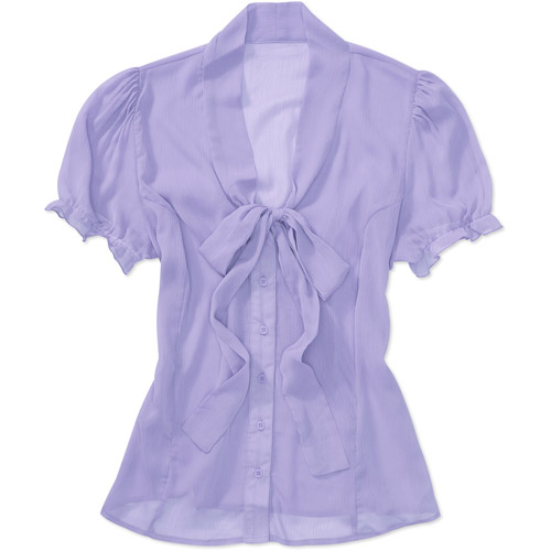 Susie Rose Collection Womens Plus-Size Sheer Tie-Front Woven Blouse