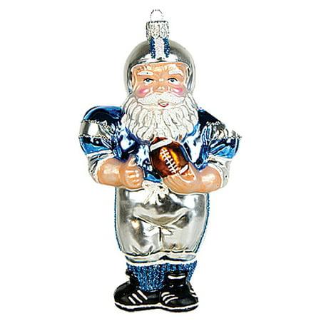 - Football Player Santa Claus Polish Blown Glass Christmas Ornament Decoration