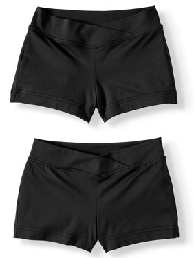 Danskin Now Girls' Premium Nylon Dance Short with Criss Cross Front 2-Pack (Little Girls & Big Girls)