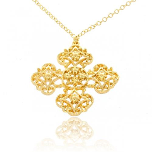 Belcho USA Belcho Gold Overlay Maltese Cross Ornament Pendant Necklace