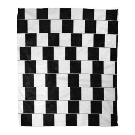 ASHLEIGH Flannel Throw Blanket Visual Black Eye Optical Parallel Lines White Trick Blocks Soft for Bed Sofa and Couch 58x80 (Optical Crystal Block)