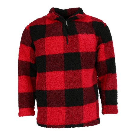 Boxercraft Adult Sherpa Buffalo Plaid Quarter Zip Pullover Reversible Plaid Pullover