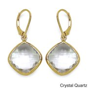 14k Goldplated Sterling Silver Genuine Gemstone Earrings Crystal Quartz
