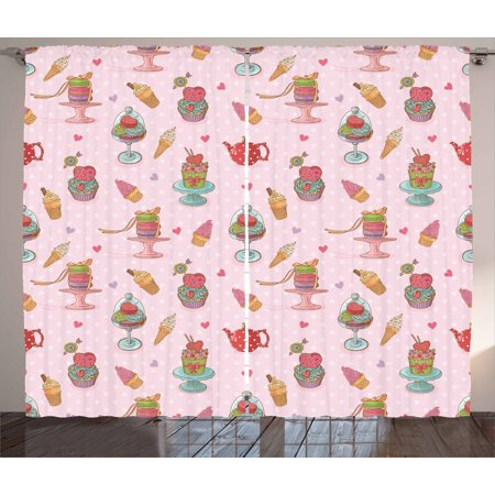 Ice Cream Curtains 2 Panels Set, Retro Style Cupcakes Teapots ...