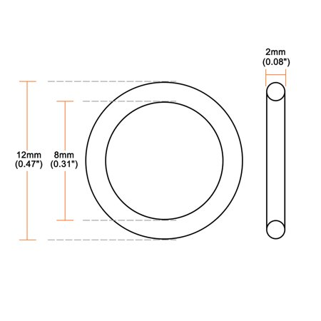 Silicone O-Rings, 8mm Inner Diameter, 12mm OD, 2mm Width, Seal Gasket 5pcs - image 2 de 3