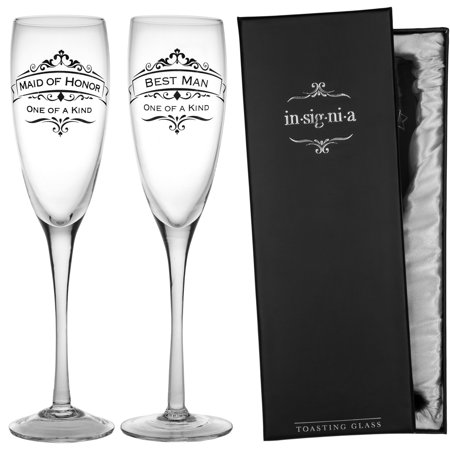Handed Champagne Interior Pack - EnescoSet of 2Wedding Champagne Flute 11oz Glasses Pack Maid Of Honor & Best Man