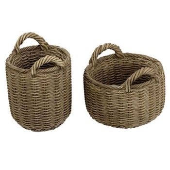 Dollhouse Resin Round Baskets, 2Pcs